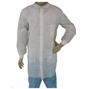 Epic Cleanroom Disposable Lab Coat Polypropylene, Snap Front, Knit Wrist & Collar, 3 Pockets Color: White Size: Medium 50/Case