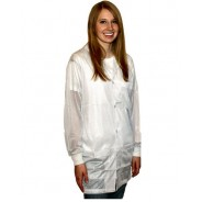 Transforming Technologies JKC8804WH ESD - Traditional Collared Lab Jacket, ESD Knit Cuff, Color: White, Size: Large JKC 8804WH