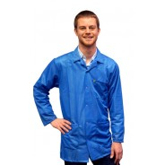 JKC9022SPLB Transforming Technologies JKC 9022SPLB ESD - Traditional Collared Lab Jacket, Traditional Collared Lab Jacket, Snap wrist, Color: Light Blue, Size: Small
