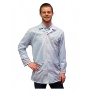 JKC9010 Series Transforming Technologies JKC 9025SPWH ESD - Traditional Collared Lab Jacket, ESD, Snap Cuff Wrist, Color: White,