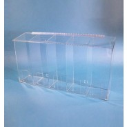 """S-Curve Cleanroom Multi-Use Dispenser 30""""Wx16""""Hx6""""Dx 1/4""""Thick Clear Acrylic 5-Compartment With Front Opening & Sloped Lid"""