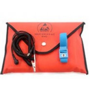 "B1822 Botron Dissipative Field Service Kit 18""x22"" 2-Pocket, W/Wrist Strap Set & Ground Cord + Pouch Color: Red"