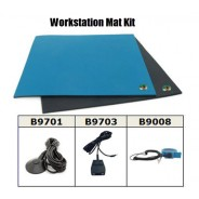 "B6123CK Botron Workstation Mat Kit Type T2 Rubber 2-Layer 24""x36""x.060 Includes: 3'x5' Black Conductive Rubber Floor Mat, Wrist Strap Set & Grounding Color: Blue"