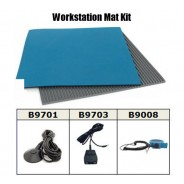 "B6123VKIT Botron Workstation Mat Kit Type T2 Rubber 2-Layer 24""x36""x.060 Blue Worktop & 3'x5' Gray Dissipative V-Groove Vinyl Floor Mat, Includes:Wrist Strap Set & Grounding"