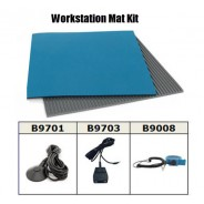 "B6124VKIT Botron Workstation Mat Kit Type T2 Rubber 2-Layer 24""x48""x.060 Includes: 3'x5' Gray Dissipative V-Goove Vinyl Floor Mat, Wrist Strap Set & Grounding Color: Blue"