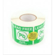 "Botron 2""x2"" Lead-Free Warning Label Green/White 500/Roll"