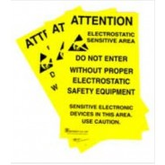 "B6717 Botron 11""x17"" Poster Caution Self-Sticking ESD-Safe Area 5/Pack"