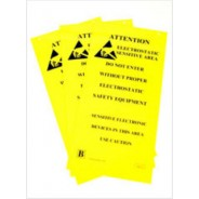 "B6720 Botron 10""x20"" Hanging Double-Sided Caution Sign ESD-Safe Area 3/Pack"