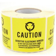 "B6722 Botron 2""x2"" Caution Label Old MIL Std Yellow/Black 500/Roll5.95"