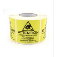 "B6728 Botron 4""x4"" Attention Label Mil-Std 129 Yellow/Black 250/Roll"