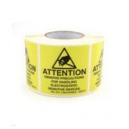 "B6727 Botron 2""x2"" Attention Label Mil-Std 129 Yellow/Black 500/Roll"