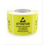 "B6736 Botron 4""x4"" Attention Label JEDC Yellow/Black RS-471 250/Roll"