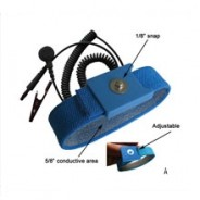 """Botron Wrist Strap Set Light Blue Fabric Adjustable With 1/8"""" (4mm) Snap with 6' 90 Degree Angle Coil Cord"""