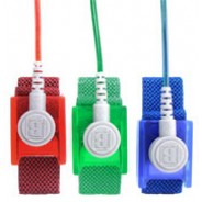 "B9988 Botron ""GEM"" Wrist Strap Set Sapphire Fabric Adjustable With 1/8"" (4mm) Snap with 12' Coil Cord"