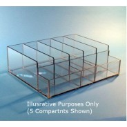 "BD-5300 PETG S-Curve Cleanroom Bulk Dispenser/Organizer 16.5""x5""x13.5""Dx1/4"" Thick Clear High Impact PETG Material 8-Compartment Open Top"