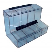 "FCD-01 S-Curve Cleanroom 4-Compartment Dispenser 17.25""Wx12""Hx9.25""Dx 1/4""Thick Clear Acrylic For Finger Cots, Ear Plugs, Etc, With Access Tray & Hinged Lid"