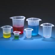 3640 Globe Scientific GS3640 Tri-Corner Plastic 50mL Beaker Polypropylene Economy Style 100/Case (VSP)