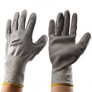 QRP Qualakote® Polyurethane Palm Coated Gray Cut Resistant Glove Size: Large Color: White Dyneema® With Black Nylon Knit 12Pair/Pak