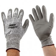 QRP Qualakote® Polyurethane Palm Coated Gray Cut Resistant Glove Size: Large Color: White UHMWPE With Black Nylon Knit 12Pair/Pak