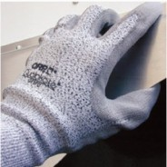 GPSPH QRP Qualakote® Polyurethane Palm Coated Gray Cut Resistant Glove Size: X-Large Color: White UHMWPE With Black Nylon Knit