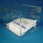 "S-Curve Cleanroom  Apparel Dispenser For Lab Coats, Frocks & Smocks 12""W x 10""H x 13""Dx1/4"" Clear Acrylic 1-Compartment With Slotted Front Access +Hinged Lid With Heavy Duty Wall Bracket + Support Bar"