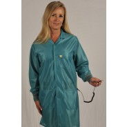 "Tech Wear ESD-Safe 37""L Traditional Coat With ESD Cuff OFX-100 Color: TealSize: Small"