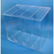 "Mcd-4000 Cleanroom Extra Large Multi-Use Dispenser 22""Wx18""Hx12""Dx 1/4""Thick Clear Acrylic 4-Compartment With Front Opening, Sloped Lid & Heavy Duty Mounting Bracket"