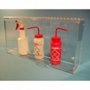 "S-Curve BH-2412 Cleanroom Bottle Dispenser 24""Wx12""Hx4""D For 4-6 Bottles, 1/4""Thick Clear High Impact PETG Material 1-Compartment With Cover Wall Mount (VSP"