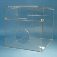 """S-Curve BLD-2400 Cleanroom Consumables Dispenser 20""""Wx16""""Hx16""""Dx 1/4""""Thick Clear Acrylic 1-Compartment With Front Round Hole Access & Back-Load & Full Hinged Lid (VSP)"""