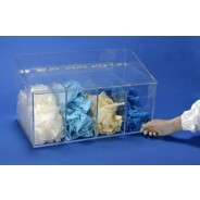 "S-Curve GD-400 Cleanroom Glove Dispenser 20""Wx12""Hx12""Dx 1/4""Thick Clear Acrylic 4-Compartment With Front Openings & Separate Flat Lids (VSP"