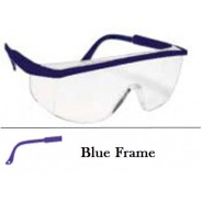 QVIS Sentinel Safety Glasses Molded Nose Bridge, UV Protective, Scratch Resistant, Clear Lens with Blue Frame