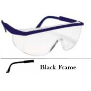 QVIS Sentinel Safety Glasses Molded Nose Bridge, UV Protective, Scratch Resistant, Clear Lens with Black Frame