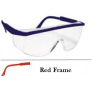 QVIS Sentinel Safety Glasses Molded Nose Bridge, UV Protective, Scratch Resistant,Clear Lens with Red Fram