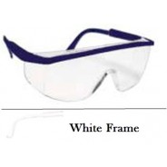 QVIS Sentinel Safety Glasses Molded Nose Bridge, UV Protective, Scratch Resistant, Clear Lens with White Frame