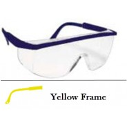 QVIS Sentinel Traditional Safety Glasses Molded Nose Bridge, UV Protective, Scratch Resistant, Clear Lens with Yellow Frame