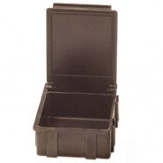 "Transforming Technologies SM0875  Conductive Hinged SMD Storage Box 1-9/16x1-1/2x19/32"" Black Lid 25/Case (VSP)"