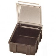 "Transforming Technologies SM0882 Conductive Hinged SMD Storage Box 1-9/16x1-1/2x19/32"" Transparent Lid 25/Case"