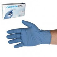 "QRP Qualatrile™ SENS!® ESD-Safe 9"" Nitrile Gloves 3mil ""Nude Glove"" Powder-Free Color: Blue Size: Small 100/Box"