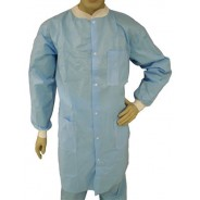 Epic Cleanroom Economy Disposable Lab Coat Polypropylene, Snap Front, Knit Wrist & Collar, 3 Pockets Color: Sky Blue Size: Medium 30/Case