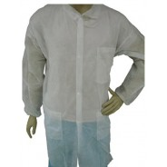 Epic Cleanroom Economy Disposable Lab Coat Light Weight Polypropylene, Snap Front, Knit Wrist & Collar, 3 Pockets Color: White Size: 3X-Large 50/Case