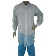 Epic Cleanroom Disposable Lab Coat Light Weight Polypropylene, SPP, Snap Front, Knit Wrist & Collar, No Pockets Color: White Size: Small 50/Case