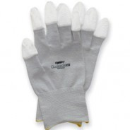 QRP Qualakote® ESD Inspection/Assembly Gloves Polyurethane Finger Tip Dipped Carbon/Nylon Knit Size: X-Small Color: Gray With White Tips 12Pair/Pak