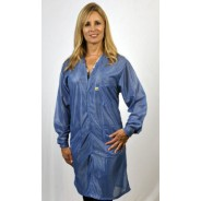 "VOC-23-2XL Tech Wear Traditional ESD-Safe V-Neck 40""L Coat OFX-100 Color: Hi-Tech Blue Size: 2X-Large"