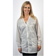 "Tech Wear Traditional ESD-Safe 34""L V-Neck Jacket OFX-100 Color: White Size: 4X-Large"