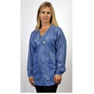 "VOJ-23-4X Tech Wear Traditional ESD-Safe 33""L V-Neck Jacket OFX-100 Color:Hi-Tech Blue Size: 4X-Large"