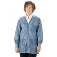 "Tech Wear Traditional ESD-Safe 33""L V-Neck Jacket With ESD Cuff OFX-100 Color: Hi-Tech Blue Size: 4X-Large"