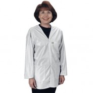 "Tech Wear Traditional ESD-Safe 32""L V-Neck Jacket OFX-100 Color: White Size: X-Small"