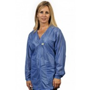 "VOJ-23C-XS Tech Wear Traditional ESD-Safe 32""L V-Neck Jacket With ESD Cuff OFX-100 Color: Hi-Tech Blue Size: X-Small"