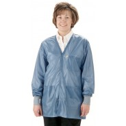 "Tech Wear Traditional ESD-Safe 32""L V-Neck Jacket With ESD Cuff OFX-100 Color: Hi-Tech Blue Size: 3X-Large"