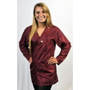 "VOJ-33-3X Tech Wear ESD-Safe V-Neck 32""L Jacket OFX-100 Color: Burgundy Size: 3X-Large"